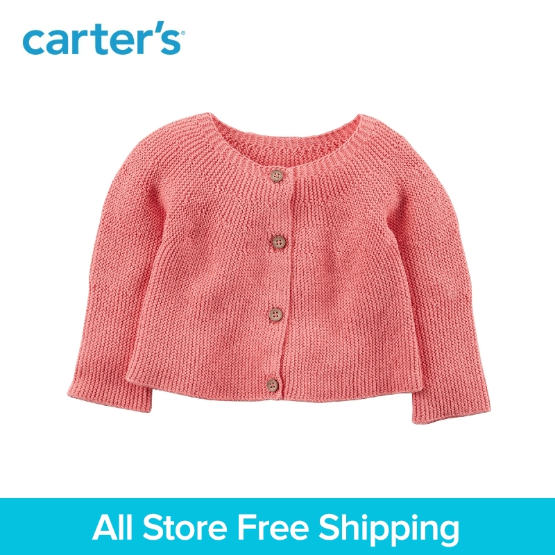 Carter's 1-Piece baby children kids clothing Girl Spring Button-Front Knit Cardigan 127G853 button front frilled detail top