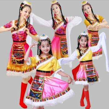 New models Tibetan dance costume costumes Mongolian minority children long sleeves dress stage performance clothing
