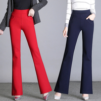2018 autumn winter high waist stretch straight pants flared pants slim slimming large size casual pants female big red trousers