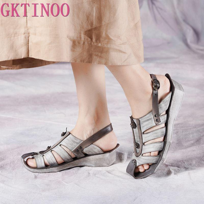 GKTINOO lato nowy prawdziwej skóry płaskie buty damskie Retro wygodne osobowości casualowe sandały kobiety ręcznie robione buty Gladiator w Średni obcas od Buty na  Grupa 1