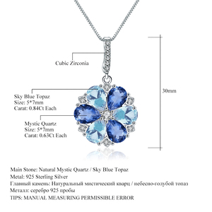 Image 5 - GEMS BALLETT Natürliche Mystic Quarz Sky Blue Topas Edelstein 925 Sterling Silber Blume Anhänger Halskette für Frauen Edlen Schmuck