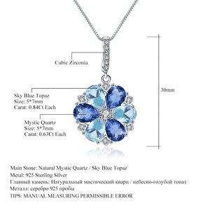 Image 5 - GEMS bale doğal mistik kuvars Sky Blue Topaz taş 925 ayar gümüş çiçek kolye kolye kadınlar için güzel takı