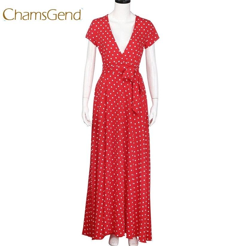 Chamsgend Недавно Дизайн пикантные женские модные с v-образным вырезом в горошек длинное, шифоновое пляжное красное платье 170619 Прямая доставка