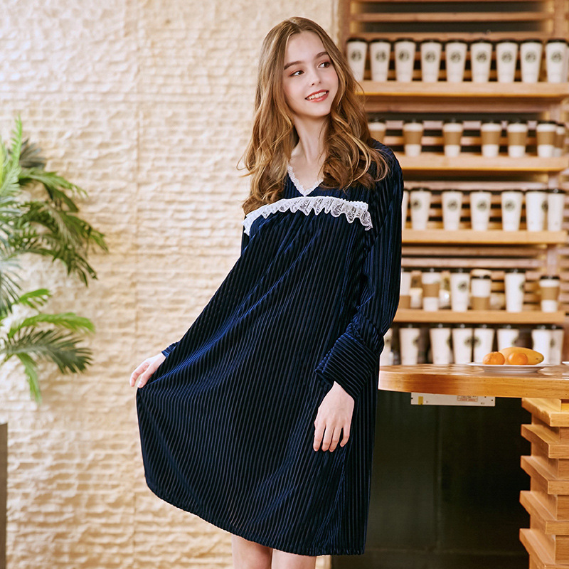 SSH0245 2018 New Women Nightgowns Sleepshirts Long Sleeves Autumn Night Dress Sexy V Neck Sleepwear Solid Lace Trim Night Gowns