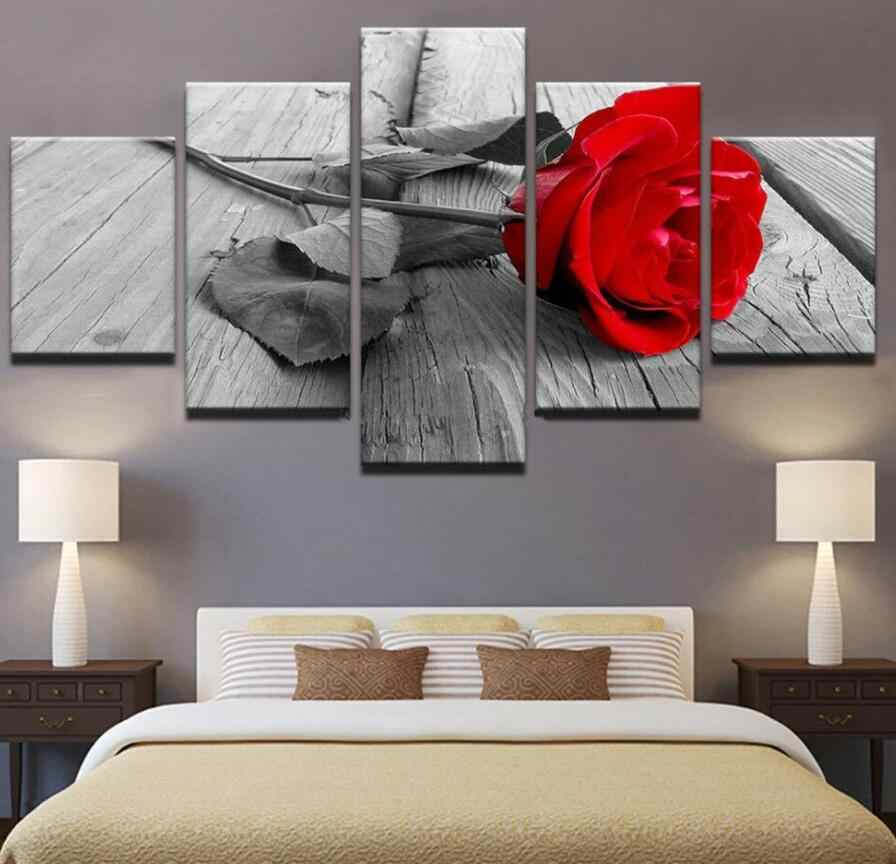5 pcs Paintings Vintage Beautiful Rose Painting Home Decoration Flower Picture Frameless Poster for Living Room Wall Art
