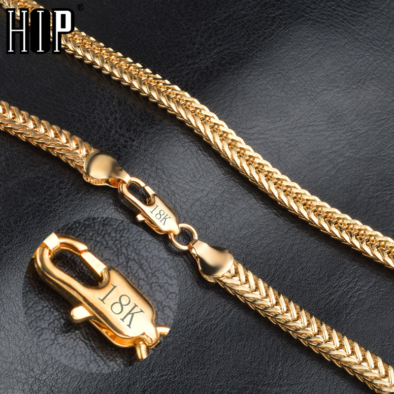 HIP Hop 20 Inches 6MM Snake Bone Chain Gold Filled Stainless Steel Double Curb Cuban Link Chain Necklaces for Men Jewelry