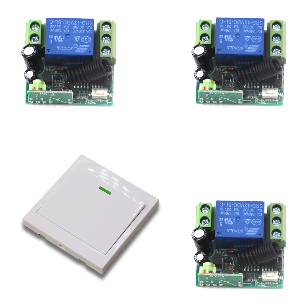DC 12V RF Wireless Switch Remote Control Switch 10A 1CH Receiver Mini Relay Wall Transmitter For Light Motor Gate 315/433Mhz high sensitivity small remote relay switch dc 3 5v 12v mini receiver with transmitter normally open close wireless switch top