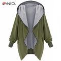 Vancol 2016 Autumn Summer Women Hooded Coat with Zipper Plus Size Army Green Black Jacket Irregular Hem Oversize Cardigan Coat