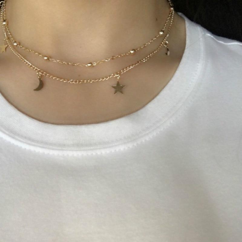 2 Schicht Sterne Mond Choker Halskette Für Frauen Perle Chocker Collier Ras Du Cou Quaste Charme Anhänger Halskette Schmuck Husten Heilen Und Auswurf Erleichtern Und Heiserkeit Lindern