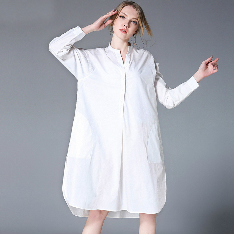 US $38.99 |Pure Cotton Brief Shirt Dress Women Oversize Long Sleeve Dresses  Plus Size Minimalist Style XL TO 4XL-in Dresses from Women\'s Clothing on ...