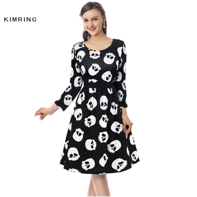06d451bb8b618 Kimring New Women Autumn Winter Dress Retro Skull Print Plus Size Dress  Vintage 1950s 60s Halloween Party Dress