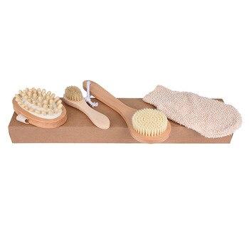 4Pcs/Set Qualified Shower Brush Boar Bristles Soft Bath Brush Exfoliating Body Massager with Long Wooden Handle 2