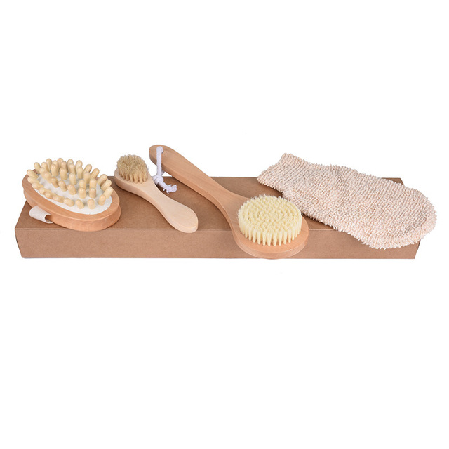4Pcs/Set Qualified Shower Brush Boar Bristles Soft Bath Brush Exfoliating Body Massager with Long Wooden Handle 1