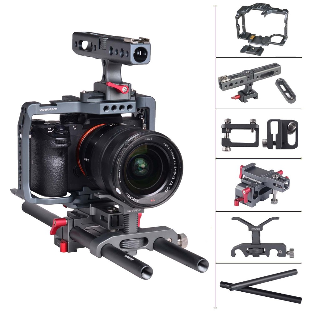 a7iii a7riii Camera Cage Kit for Sony A7RIII/A7III Cage Stabilizer Nato Handle Double Ball Heads Extension Arm Kit