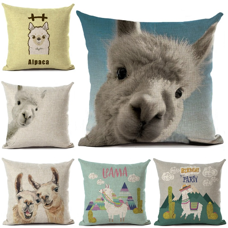 Cushion Cover Funny alpaca Printed Linen Pillow Cover Car Sofa Throw Pillows Case Decorative Pillowcase 4545cm