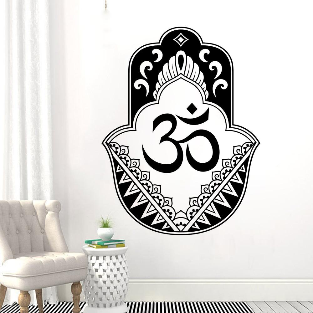 Hanging Hamsa Wall Vinyl Art Hand Of Fatima Sticker Oriental Design Yoga Decal Mural Home Decor AY1404