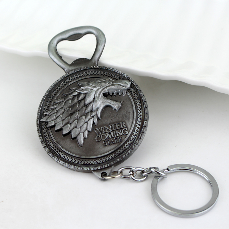 2 colors new winter is coming game of throne bottle opener keychain house stark key chain ring. Black Bedroom Furniture Sets. Home Design Ideas
