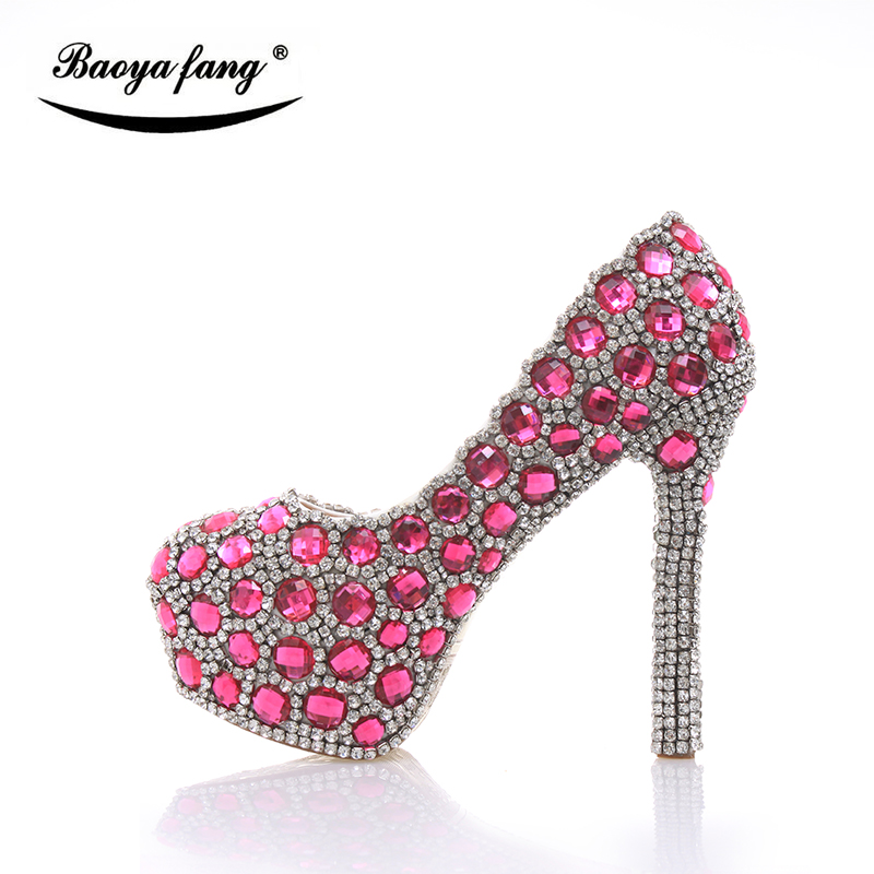 Luxury crystal Wedding shoes Women 2017 fashion shoes ladies high heel party shoes big size woman real leather Pumps Fucshia hot sale new fashion luxury real leather women thick heel pumps flock mix color wedding shoes woman flock sexy elegant pumps