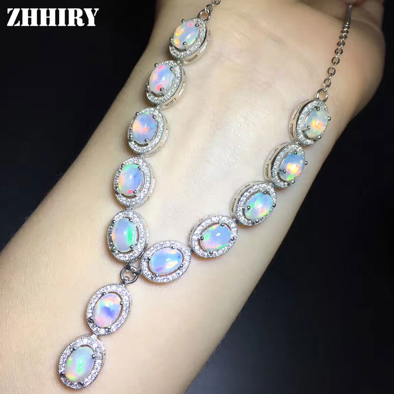 ZHHIRY Natural Opal Necklace Genuine 925 Sterling Silver For Women Necklace Pendants Fire Color Gemstone Fine