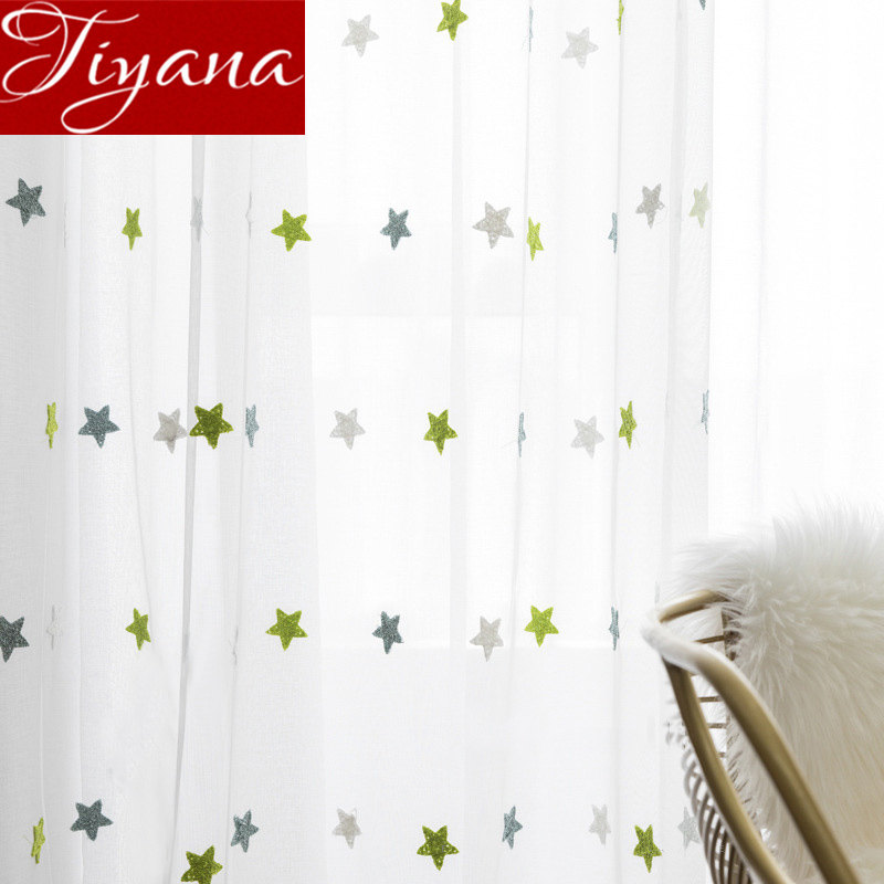 Green Stars Sheer Curtain For Kids Room Cartoon Net Tulle Drape For Window Bedroom Drape Balcony Yarn Customize M&065#30