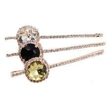 1 Pair Elegant Fashion Hair Accessories Diamante Hairclips Luxury Gold Round Crystal Rhinestone Hair Clip Barrette For Women