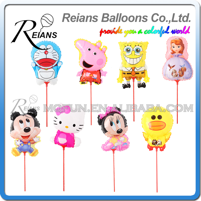 Mickey Minnie Mouse Pig Dog Sofia princes Hello kitty Doraemon Balloon With Stick Birthday Party Aluminium Foil Ballons Globos