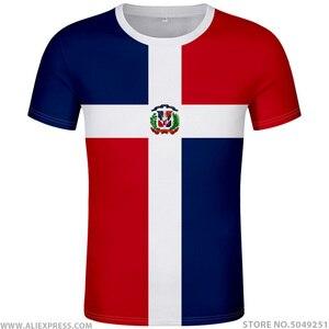 Image 1 - 도미니카 t 셔츠 로고 무료 맞춤 이름 dma 티셔츠 국가 국기 스페인어 도미니카 도미니카 공화국 인쇄 사진 의류