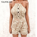 TAUPIN AM Flower Embroidery Summer Rompers Womens Jumpsuit 2017 Spaghetti Strap Lace Bodysuit Women Backless Playsuit Overalls