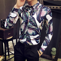 Brand Clothing Men Casual Shirt 2017 Autumn Fashion Slim Fit Party Dress Shirts Social Long Sleeve