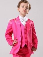 Nieuwste Jongen Smoking Notch Revers Kinderen Pak Hot Roze/Geel Kid Bruiloft/Prom Suits (Jacket + Vest + broek Tie + Shirt) NH17
