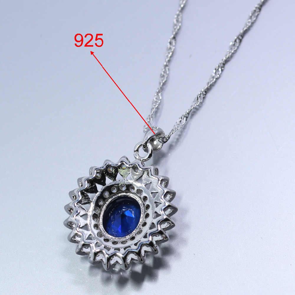 Manny Bugiganga Único Azul Zircon Áustria Cristal Clipe Brinco Colar Pingente Pulseira Anel Para As Mulheres 4 PCS Conjuntos de Jóias de Prata