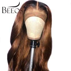 Beeos Ombre Farbige 13*6 Spitze Front Perücken Baby Haar Brasilianische Remy Körper Welle Perücken für Frauen 1b30 Menschlichen haar Perücke Gebleichte Knoten