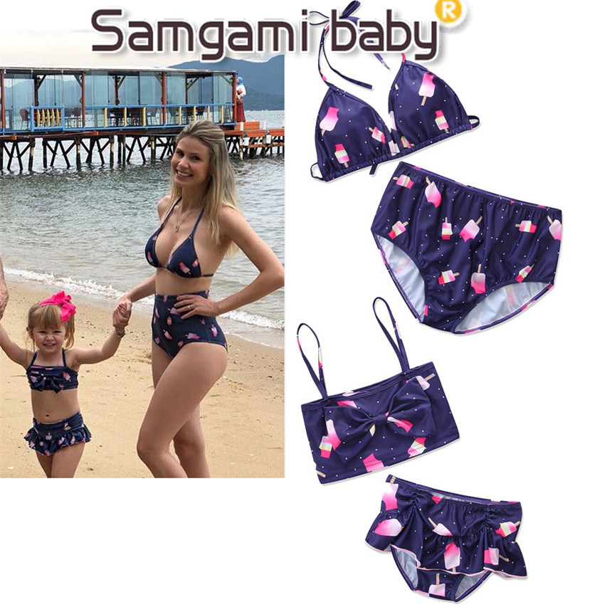 SAMGAMI BABY Mommy and Me Clothing Set Girls Swimwear Parent Child Outfit Tops+shorts 2pcs Swimming Suit Family Matching Clothes