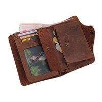 Luxury Designer Vintage Handmade 100 Genuine Crazy Horse Leather Cowhide Men Wallets Purse Card Holder Men