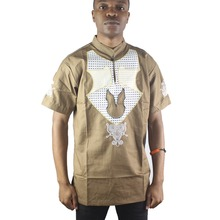 Africa Summer Embroidery Men`s Dashiki Tops Side Slit Mandarin Collar Ethnic Shirts for Male