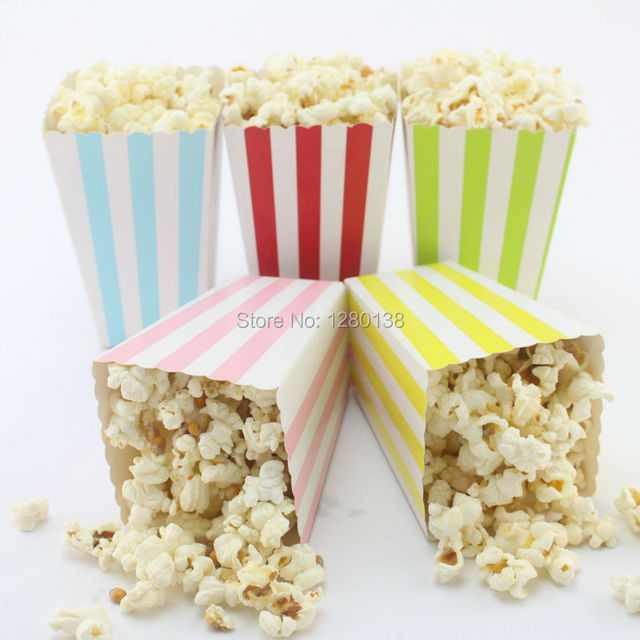 Free Shipping 1920pcs Decoration Supplies Party Favor Boxes Kids Birthday Striped Candy Popcorn
