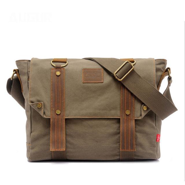 Augur Men Retro Bag Women Messenger Casual Bag Men Army Green 14 Inch Canvas  Crossbody Bag 7aad082d49af4
