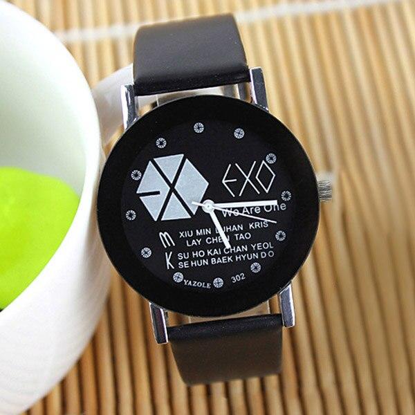 Lovers EXO Style Quartz Watch Men Women Casual Dress PU Watches Unisex Student Clock Relogio Feminino ~ TT@88 exo style lover quartz wristwatches casual dress pu watches unisex student clock for men women relogio feminino ll 17
