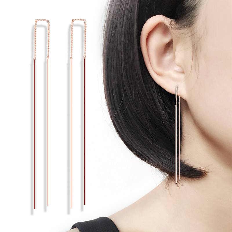 Double Adil Sederhana Strip Bar Rantai Panjang Drop/Menjuntai Anting-Anting Putih/Mawar Emas Warna Fashion Perhiasan Anting-Anting untuk wanita DFE789