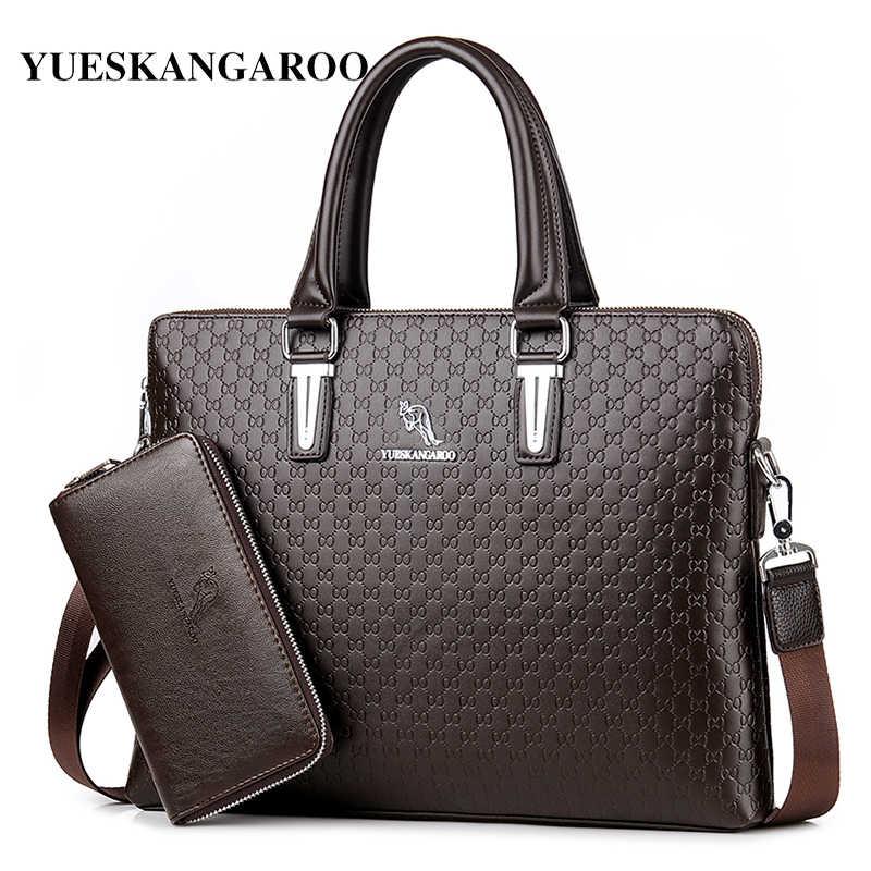 bccb9d66ade7 YUES кенгуру классические кожаные для мужчин's сумки бизнес на плечо  портфели для ноутбуков повседневное через человек