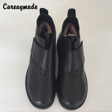 Careaymade-New 2017 winter wool boots,Hook head layer cowhide flat heel short boots,Black leather boots,Women's casual boots