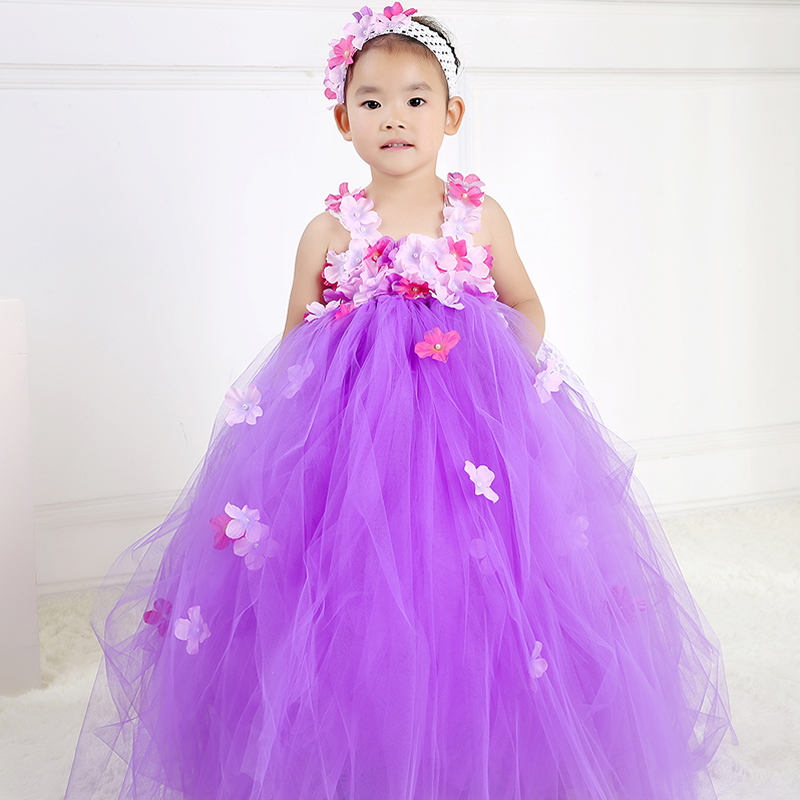 ФОТО 2017 Top quality Flower Girl Dresses for wedding White and Purple 2-8year Flower Draped Ball Gown Evening Dress Children Prom