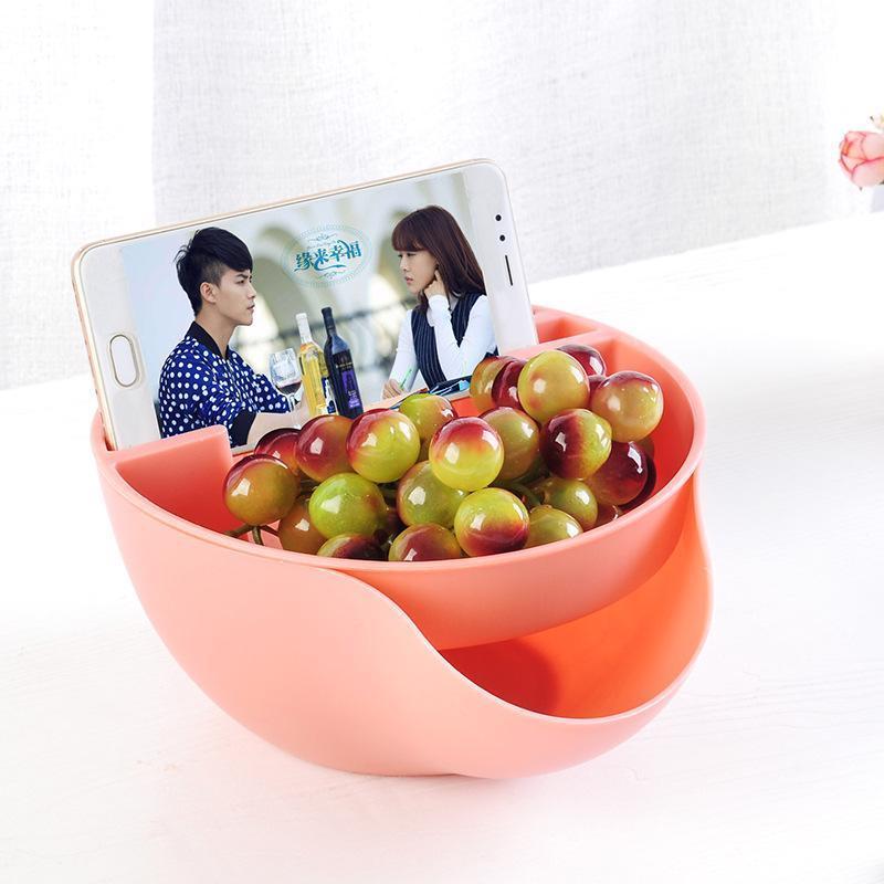 Image 2 - 利便性二重層プラスチックドライフルーツ食品容器とメロンの種子ナットボウルキャンディスナック収納ボックス電話スタンド -    グループ上の ホーム&ガーデン からの 収納ボックス & ビン の中