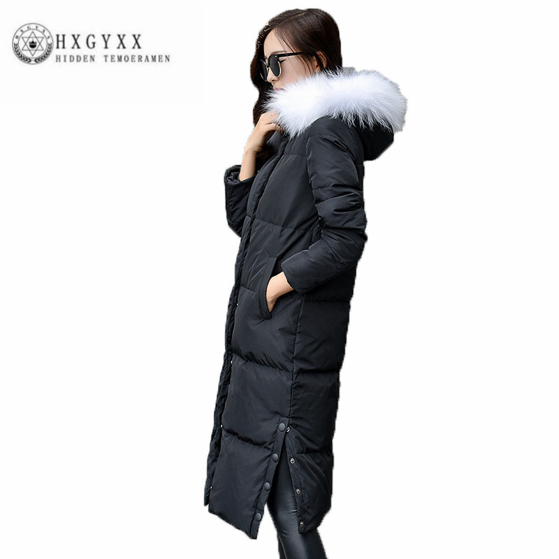 Straight New Women Winter Down jacket Big fur collar Hooded Pure color Loose Down jacket Fashion simple Warm Female Parka ZX0168