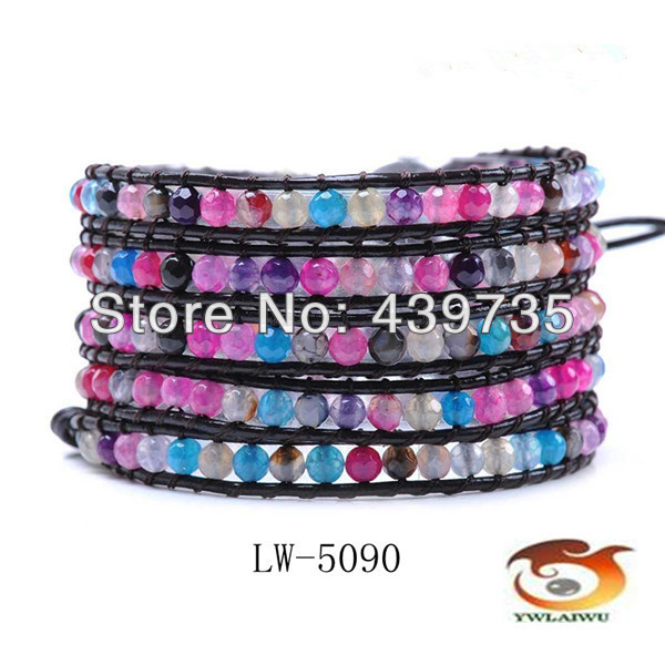 Free Shipping Boho style natural agate multi bead  women  leather bracelets  rainbow colors Wholesale and retail LW-5090