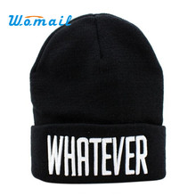 Shocking Show 2016 New Design Winter Black Whatever Beanie Hat And Snapback Men And Women Cap