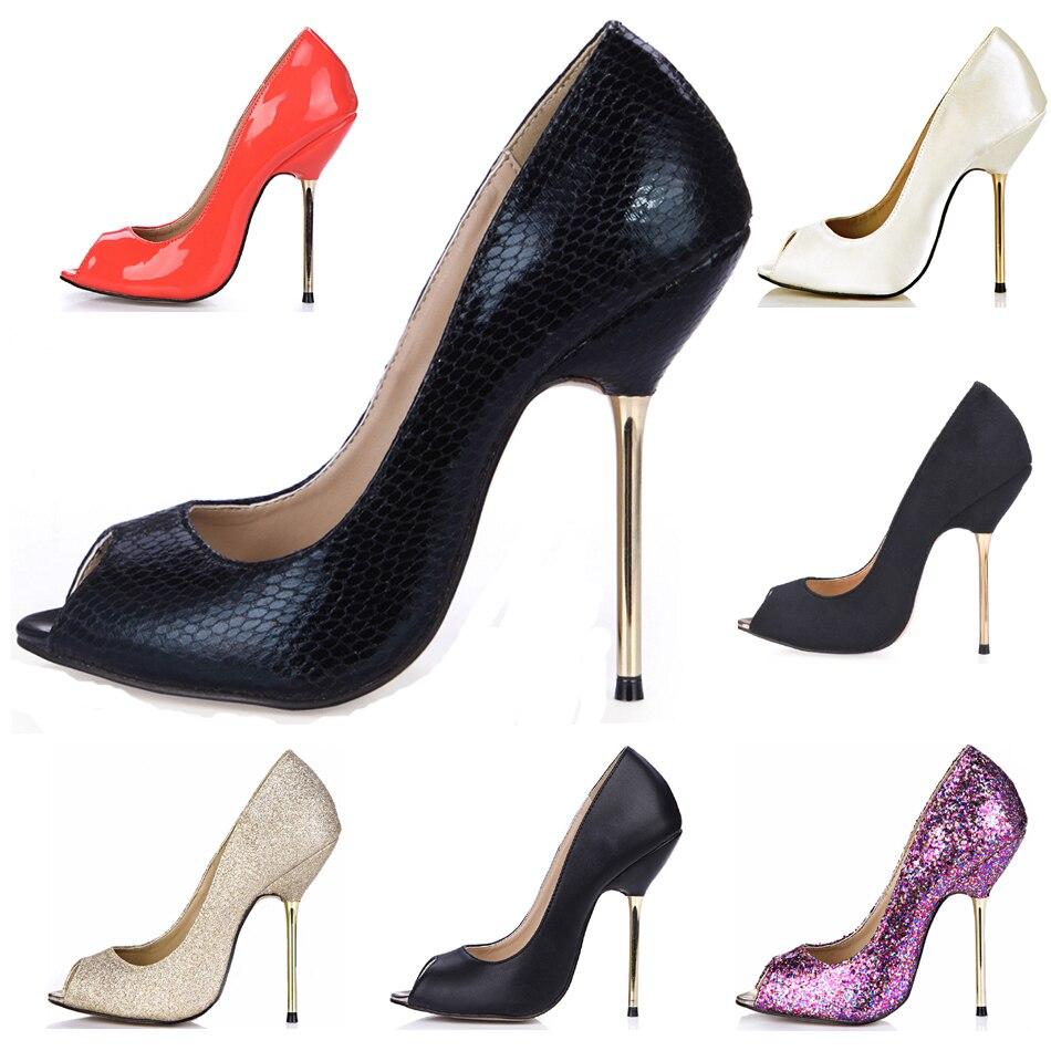 CHMILE CHAU Snakeskin Party Shoe Women Peep Toe Stiletto High Iron Heels Dress Ladies Pump Plus Sizes 9.5 Zapatos Mujer 3845-a13