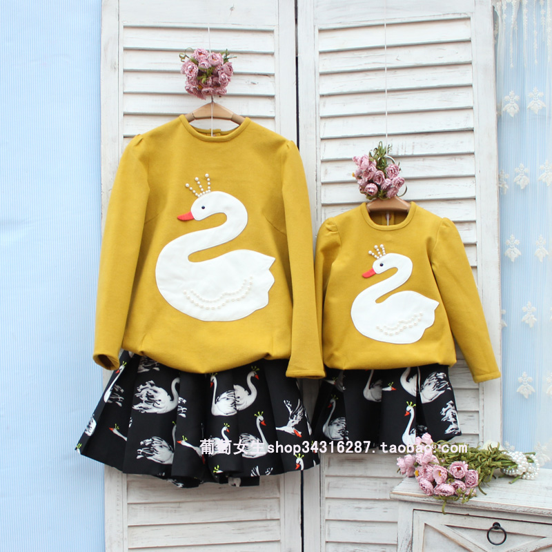 ФОТО Mother daughter baby girl clothes maternity plus sizes dresses children toddler Woman Lady patch White Swan shirt and skirt suit