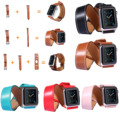 New Kakapi 4 pcs Set Double Tour Cuff Bracelet Watch Band For Apple Watch iWatch Genuine Leather Strap For Apple Watch Series 2
