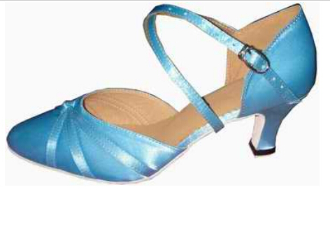 New Free Shipping Blue Satin Closed Toe Dance Shoe Ballroom Salsa Latin Tango Bachata Dancing Shoes ALL Size